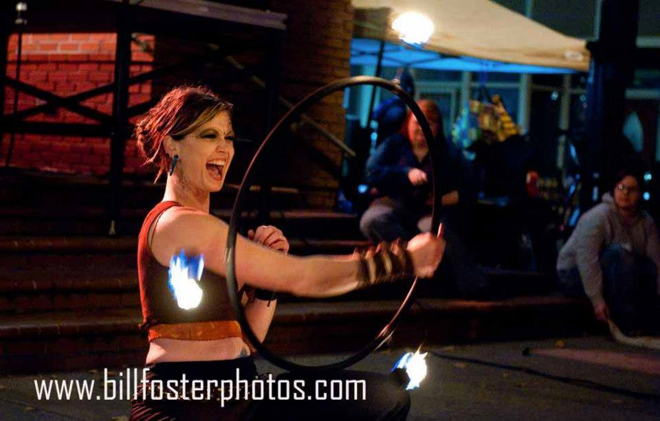 Ali is a hoop dance and fire performer and teacher. Photo used with permission.