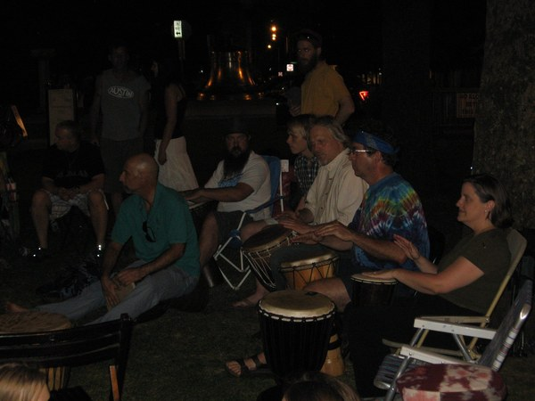 Finding my rhythm with Knox Earth Drum meetup group on the Market Square lawn.