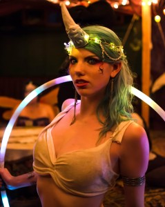 Glenda Jorden, an accomplished hoop dancer, dressed as a unicorn at Faireworlds 2012.