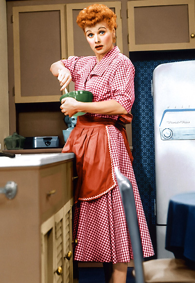 Red gingham worked for Lucille Ball. Image from Rockabilly Pinup Blog.