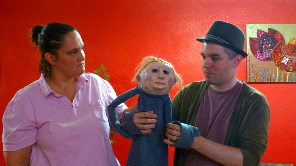 Jenni Bates and Bran Rogers work together to animate this new Spook Show puppet.