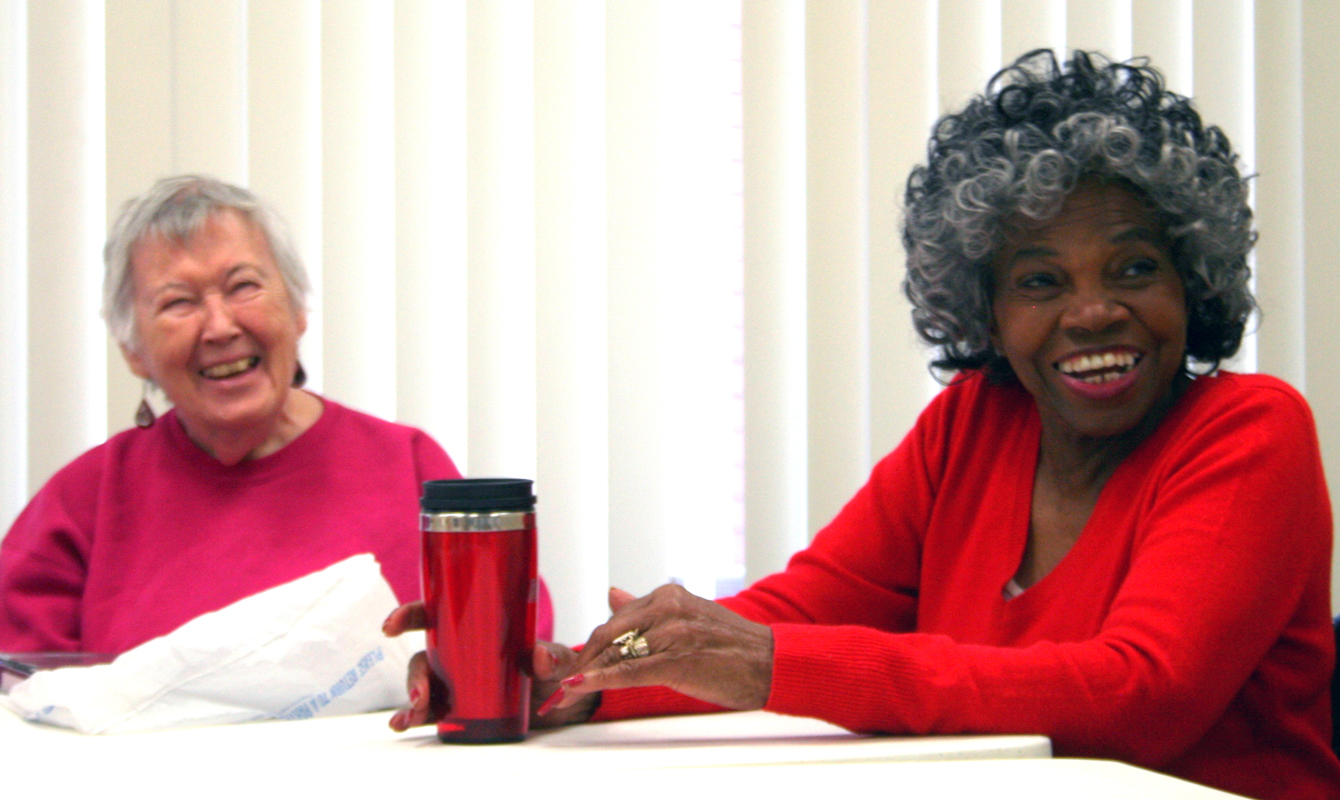 Wanda Huttner (l) and Almetoy King recall the time they were told senior citizens can't walk backwards.