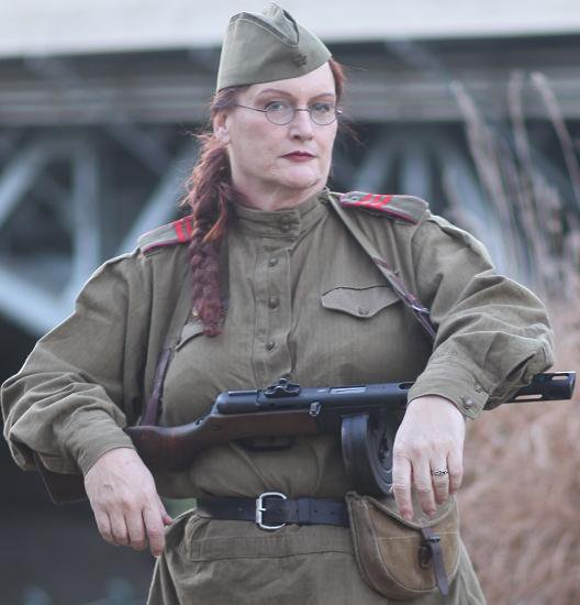 "Kaitlyn ""Katya"" Lemmons portrays a Russian soldier in Mariongrad, KY>"