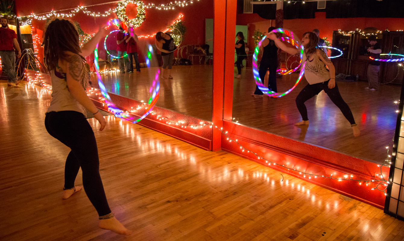 Hoop Bug student Erikka Wrinkle grooves to The Rolling Stones.