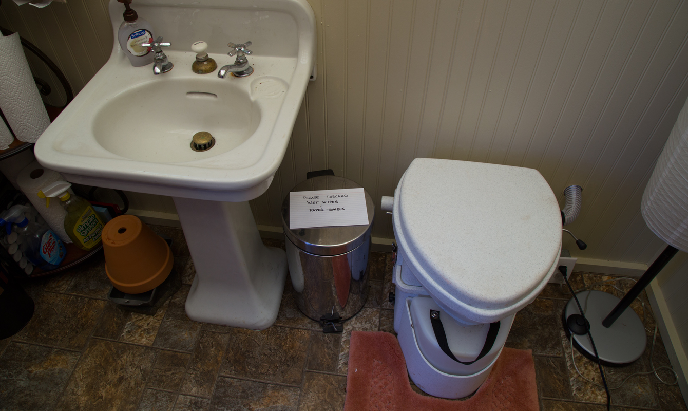 The sink was purchased from Knox Heritage. The composting toilet was purchased from