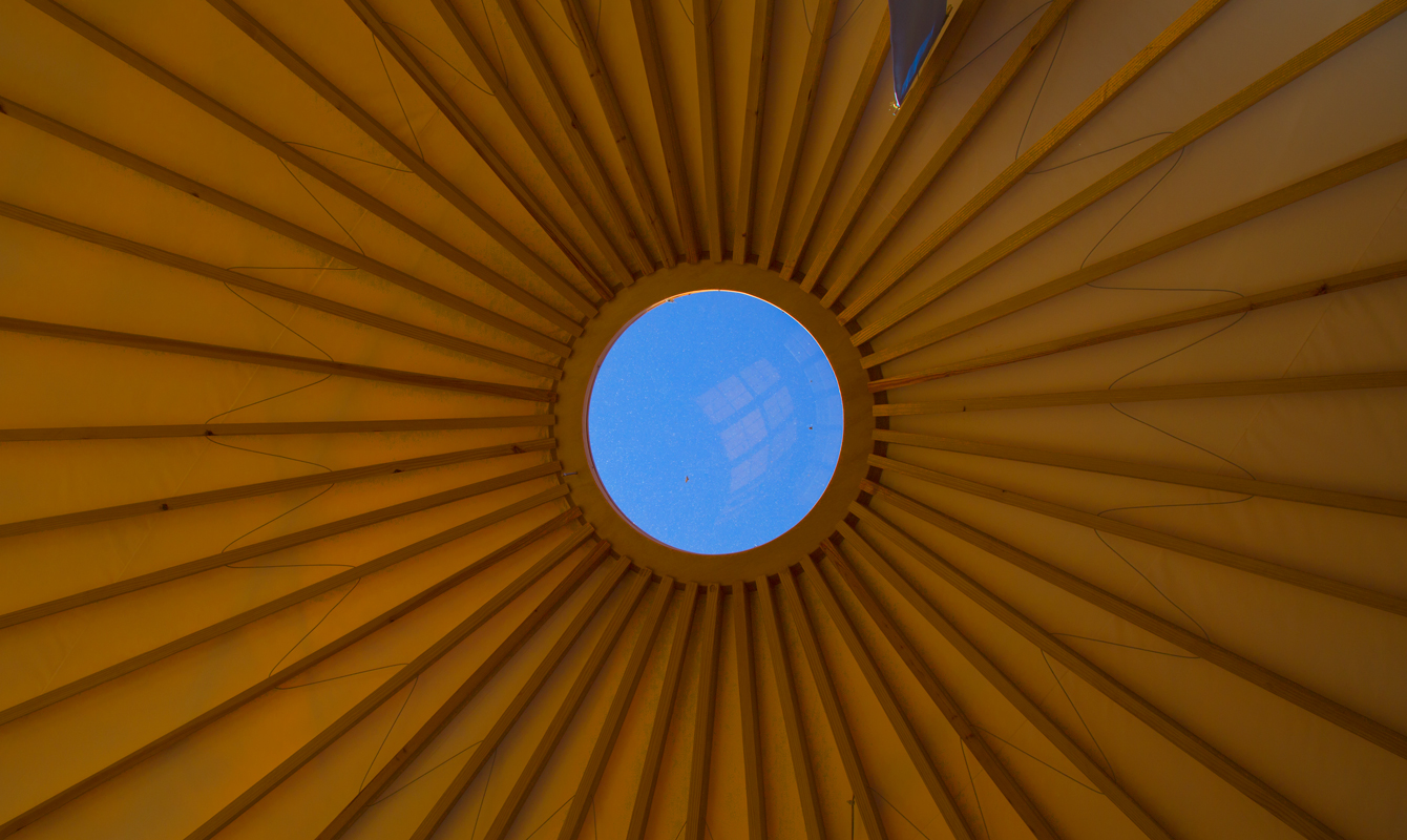 The yurt's ceiling window can also be opened.