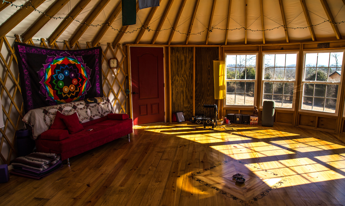 Yurt interior. A futon and inflatable bed will be available for overnight guests. Photo by: Buck Kahler.
