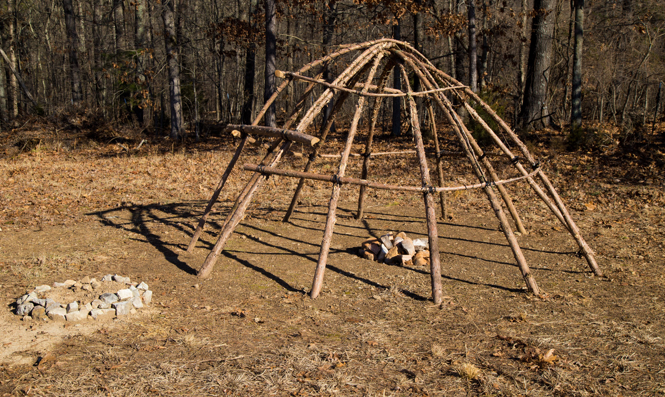 The sweat lodge without canvas covering. Photo by: Buck Kahler.