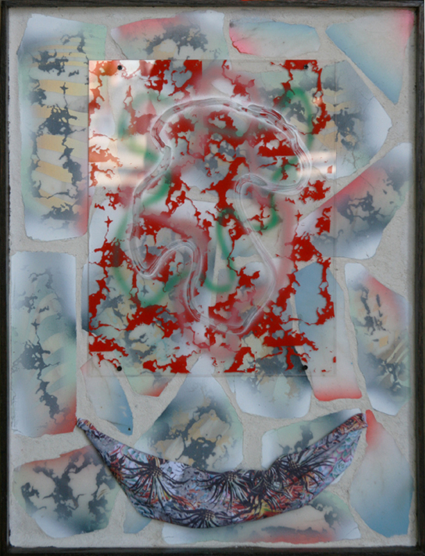 """Touchscreen,"" 26 X 22, marble, glass, printed cloth, paint assemblage."