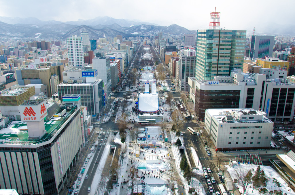 The Snow Festival spans the entire length of the main street in the Susukino district of Sapporo.