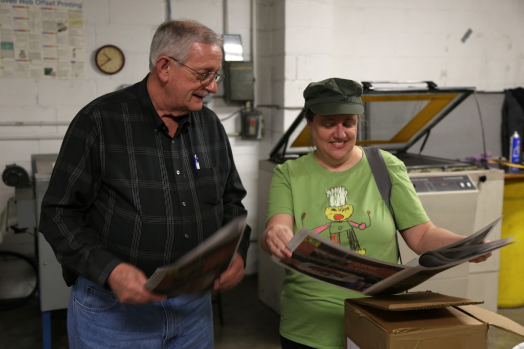 Paul Young with our editor, Debra Dylan. Paul has over 50 years experience in printing!