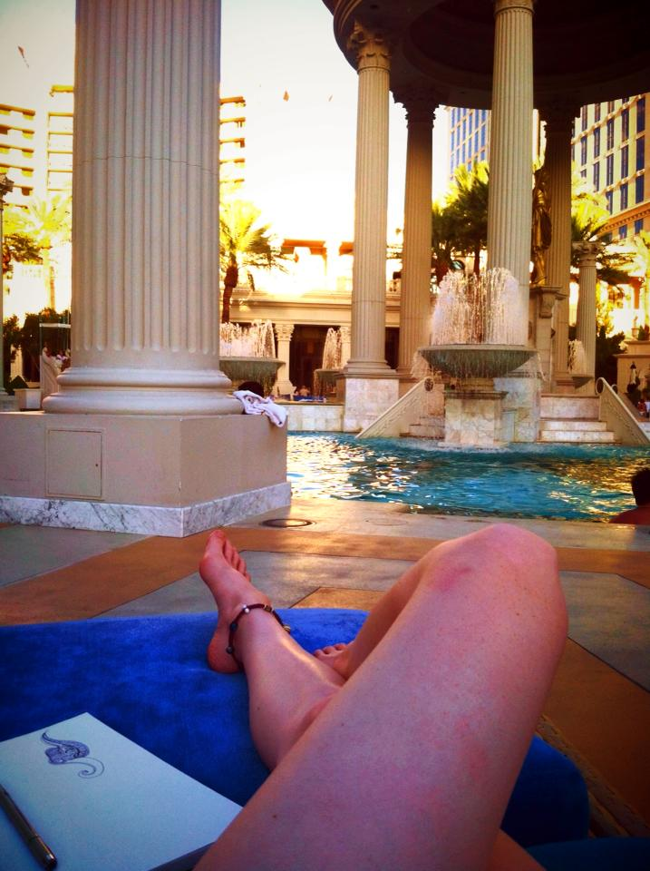 New in town and sneaking into Ceaser's Palace's pool.