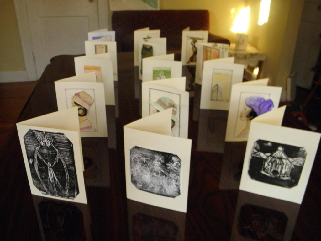 Hawa Ware's hand drawn greeting cards with African scenes.