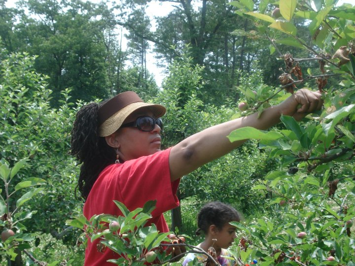 Still a country girl, Miller picks fruit at the Highlander Center.