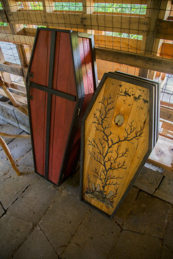 These medium sized handmade coffins are great for storage. They could also be used as a medicine cabinet, or for bar supplies.