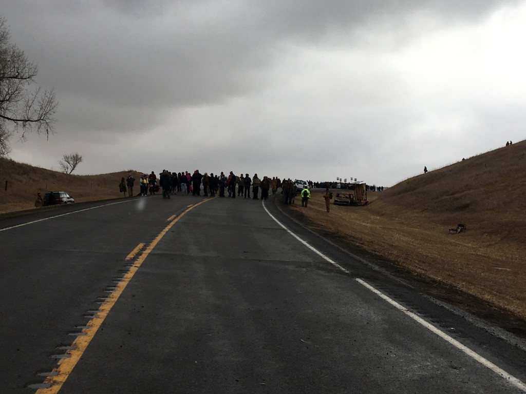 """Veterans and water protectors formed lines to protect civilians from vicious assault."""