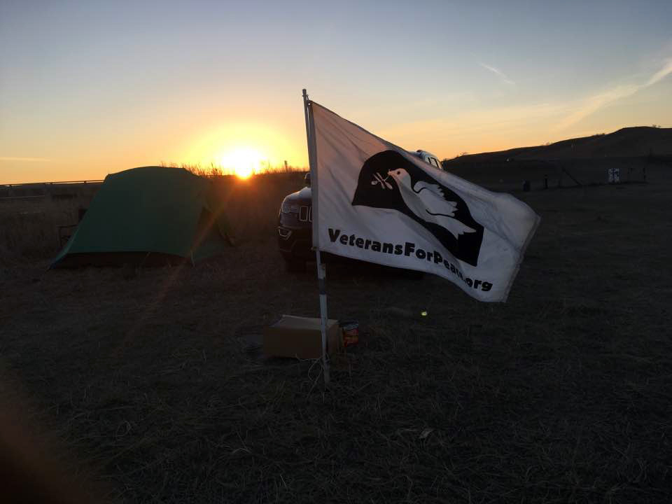 """Flags were all over the camp, including this one for Veterans for Peace."""